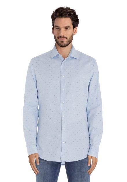 Lichtblauw hemd met stippen - slim fit