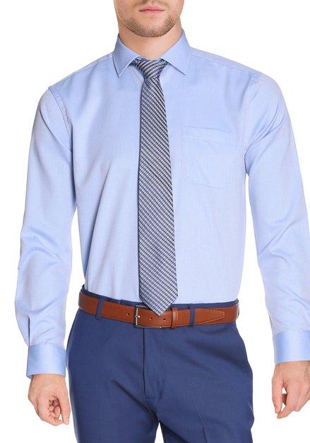 Lichtblauw hemd met structuurstof - regular fit