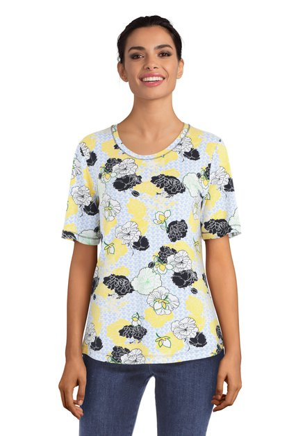 Lichtblauw T-shirt met gele bloemen