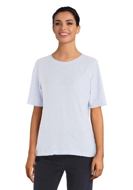 Lichtblauw T-shirt met structuurstof