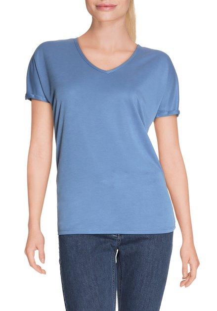 Lichtblauw T-shirt met v-hals in modal