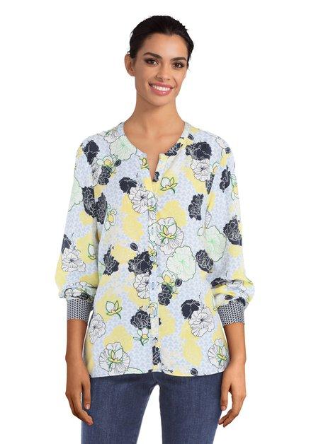 Lichtblauwe blouse met gele bloemen