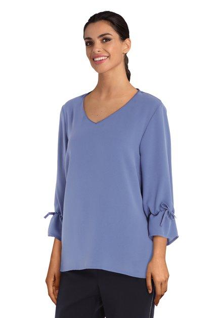 Lichtblauwe blouse met V-hals in viscose