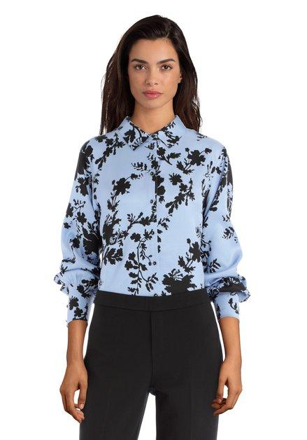 Lichtblauwe blouse met zwarte print