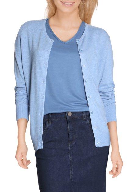 Lichtblauwe cardigan met knopenlijst