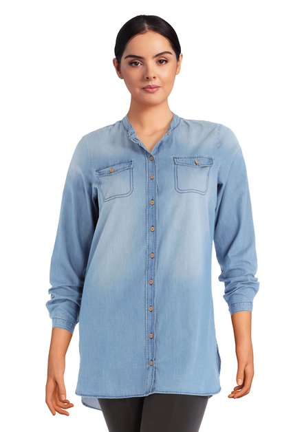 Lichtblauwe denim blouse