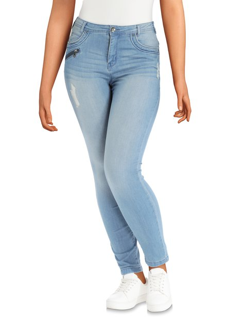 Lichtblauwe denim slijtage – high waist - slim fit