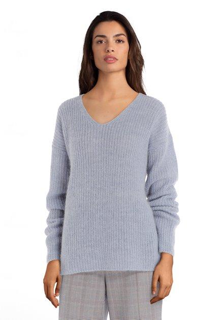 Lichtblauwe gebreide trui