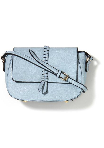 Lichtblauwe handtas met gevlochten detail