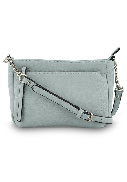 Lichtblauwe handtas met schouderlint - kunstleder