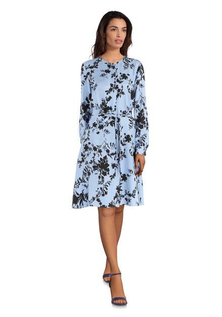 Lichtblauwe jurk met zwarte print