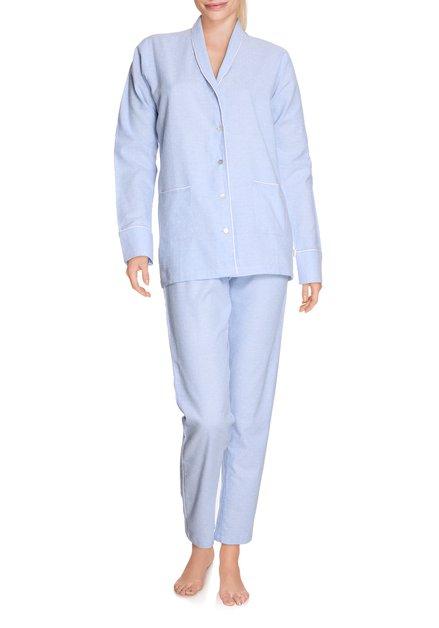 Lichtblauwe katoenen pyjama met witte stippen
