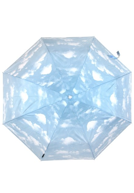 Lichtblauwe opvouwbare paraplu met wolken