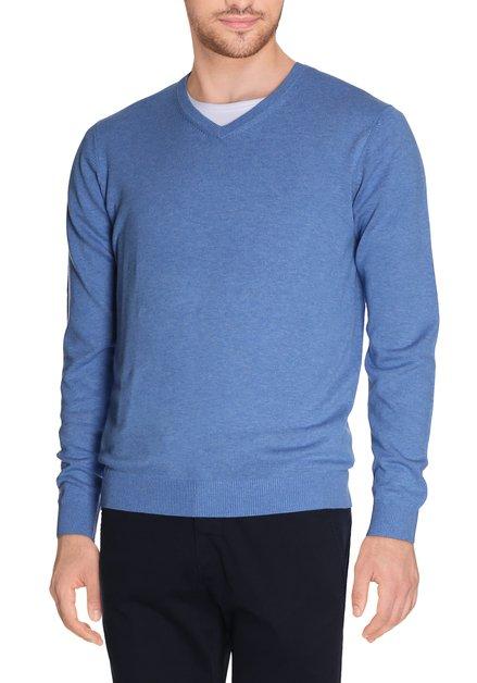 Lichtblauwe pull met geribde v-hals