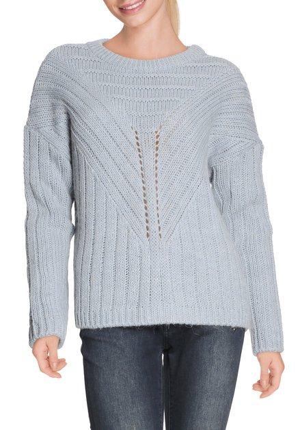 Lichtblauwe pull met ronde hals in tricot