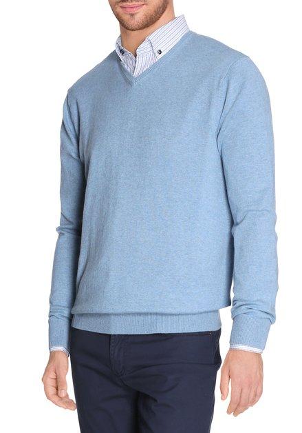 Lichtblauwe pull met v-hals en tikkeltje zijde