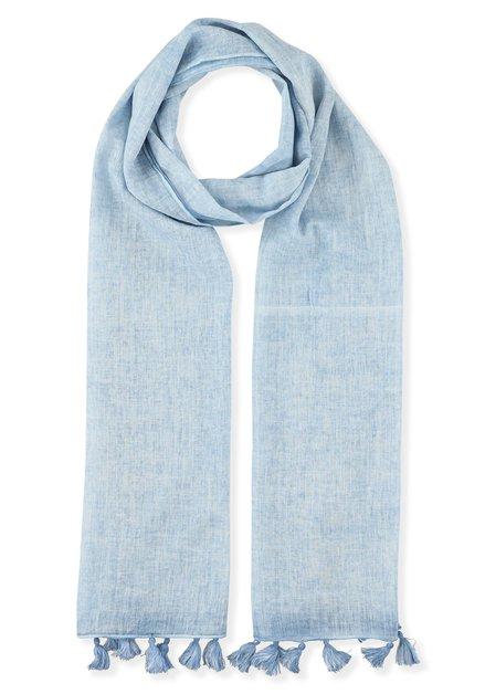Lichtblauwe sjaal met kwastjes