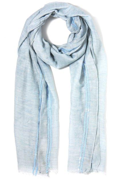 Lichtblauwe sjaal met zijde en pailletten