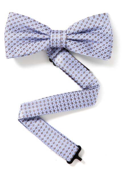 Lichtblauwe zijden strikdas met oranje blokjes