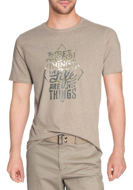 Lichtbruin T-shirt met groene print en ronde hals