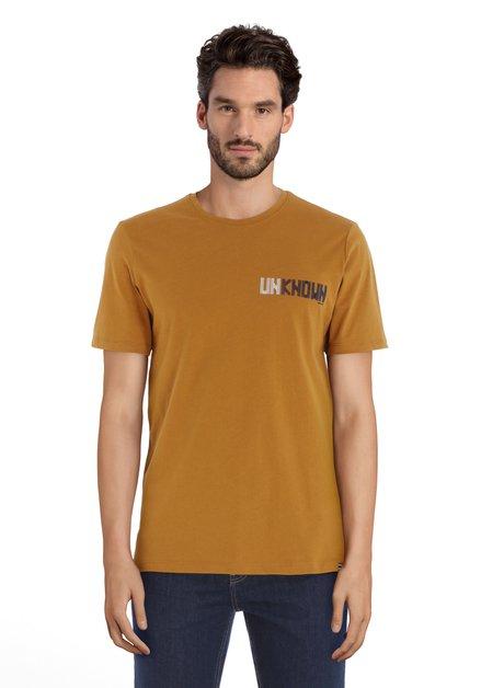 Lichtbruin T-shirt met ronde hals