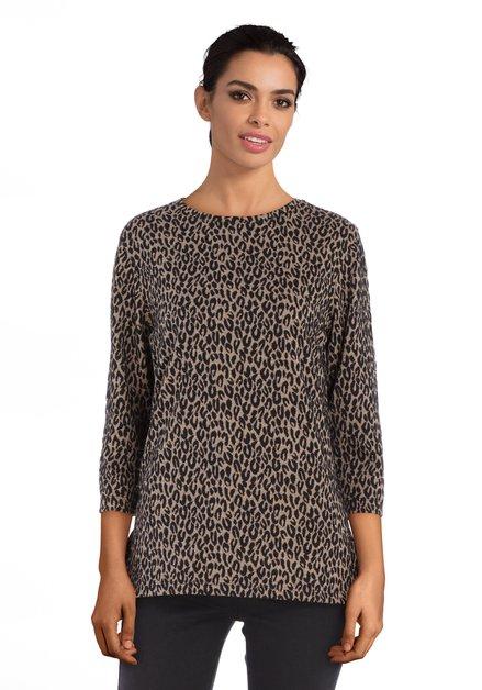 Lichtbruin T-shirt met zwarte panterprint