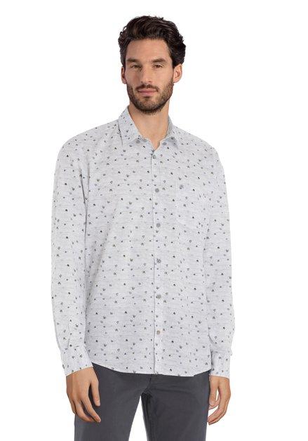 Lichtgrijs hemd met kaki miniprint