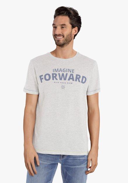 Lichtgrijs T-shirt met blauwe print en ronde hals