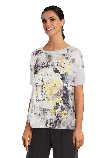 Lichtgrijs T-shirt met gele bloemen