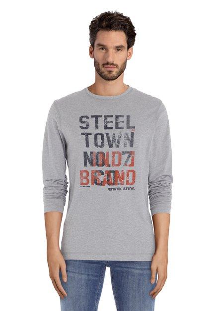 Lichtgrijs T-shirt met zwart-rode letterprint