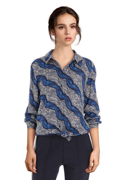 Lichtgrijze blouse met donkerblauwe print