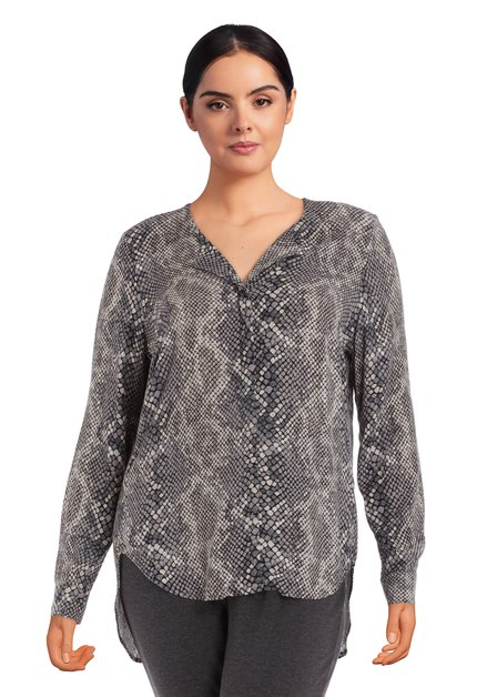 Lichtgrijze blouse met slangenprint