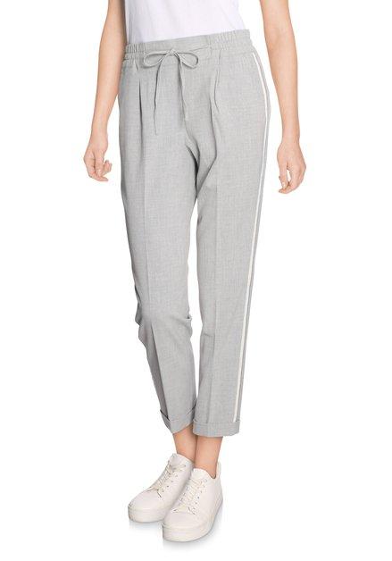 Lichtgrijze broek met witte streep - slim fit