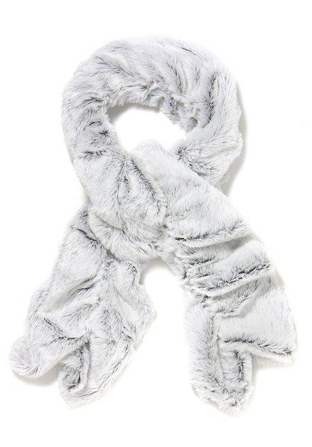 Lichtgrijze faux fur sjaal