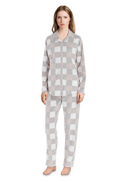 Lichtgrijze pyjama met ruiten