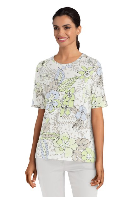 Lichtgroen T-shirt met bloemen