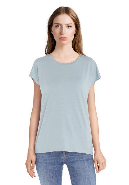 Lichtgroen T-shirt met ronde hals in modal