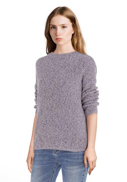 Lichtpaarse trui met opstaande kraag in tricot
