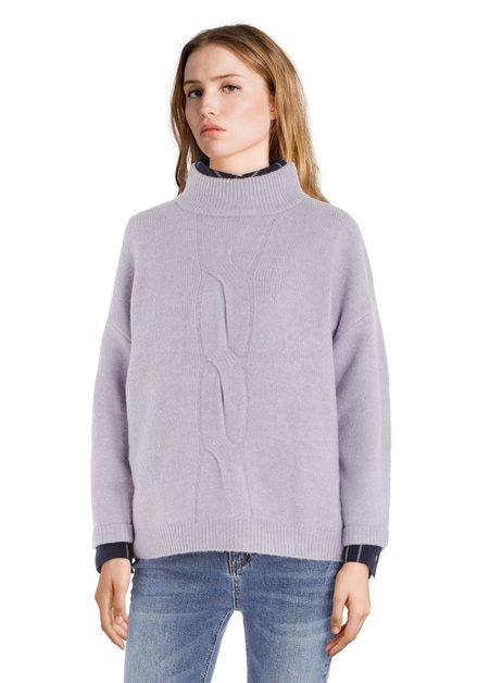Lichtpaarse trui met opstaande kraag