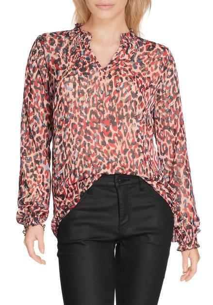 Lichtroze bloes met rode panterprint