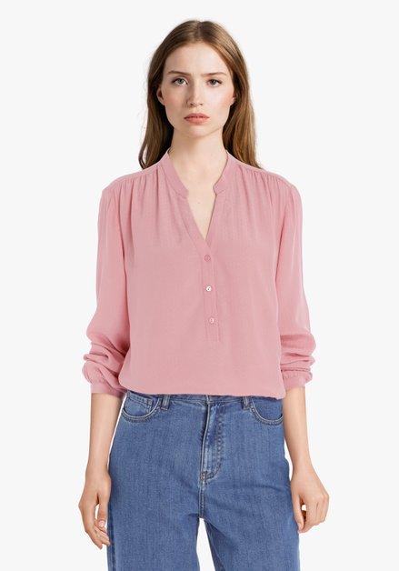 Lichtroze blouse in fijne structuurstof