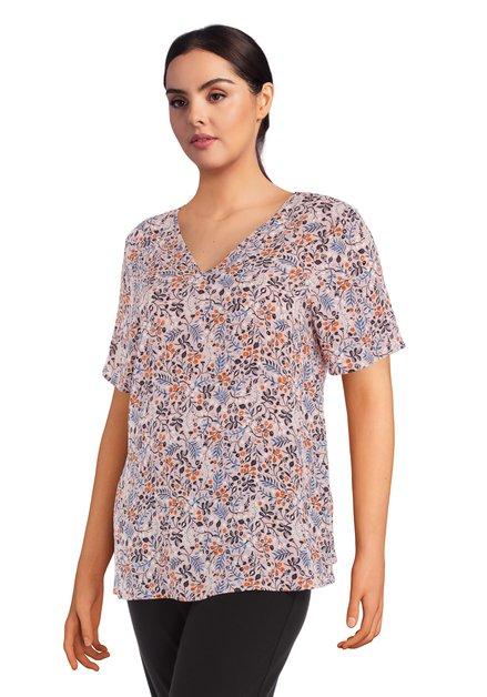 Lichtroze blouse met fijne print