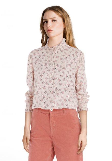 Lichtroze blouse met veertjes en opstaande kraag