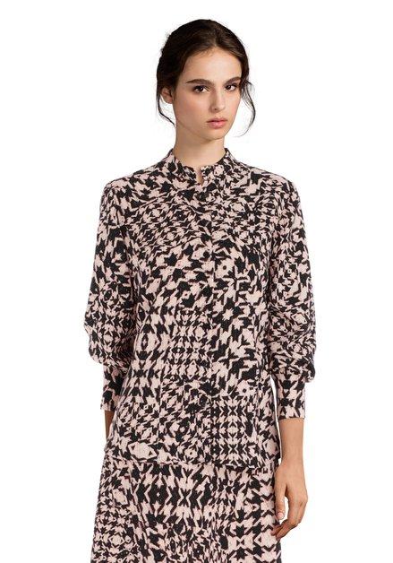 Lichtroze blouse met zwarte geometrische print