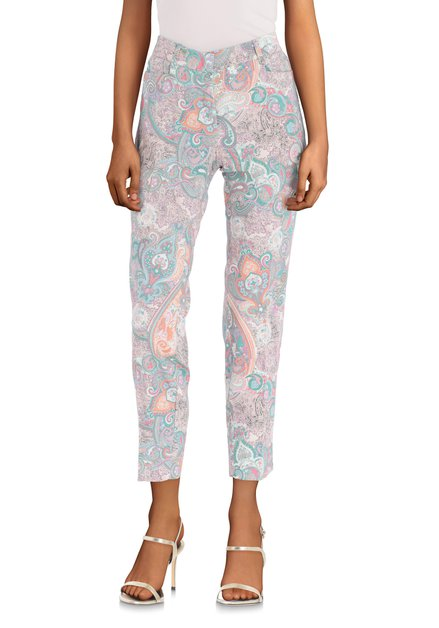 Lichtroze broek met paisleyprint - slim fit