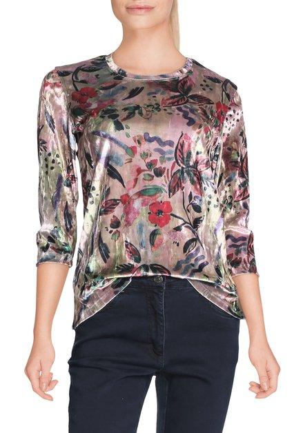 Lichtroze fluwelen T-shirt met bloemen
