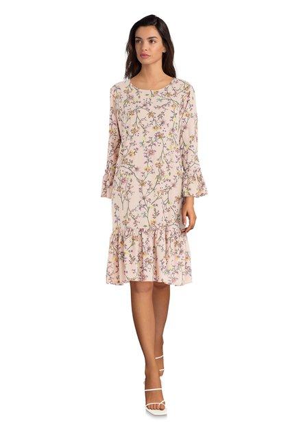 Lichtroze kleed met fijne bloemenprint