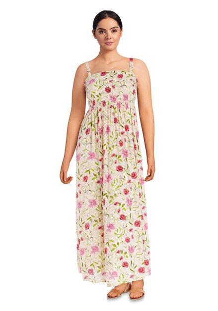 Lichtroze maxi-jurk met bloemenprint