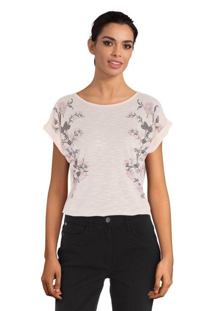 Lichtroze T-shirt met bloemen