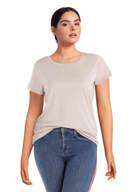 Lichtroze T-shirt met lurex
